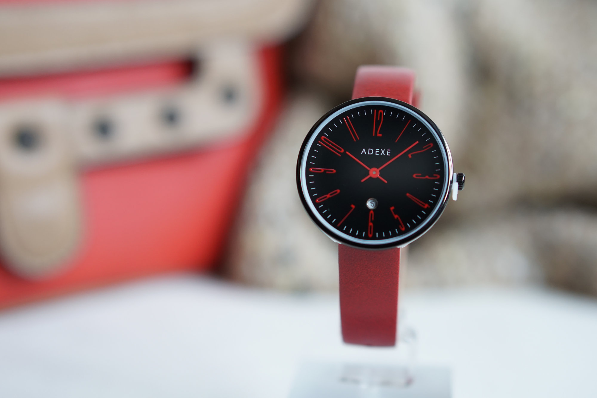woman watch red and black
